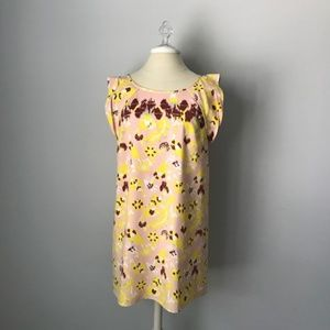 Tibi Silk Print Dress Geometric Floral Spring